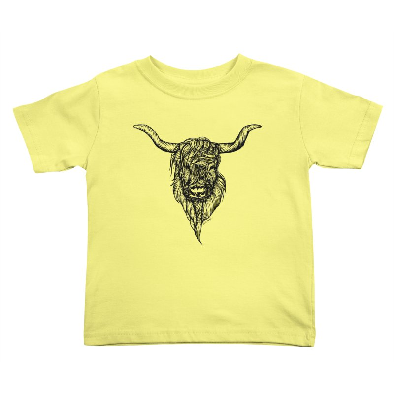 The Highland Cow Kids Toddler T-Shirt by Black Banjo Arts