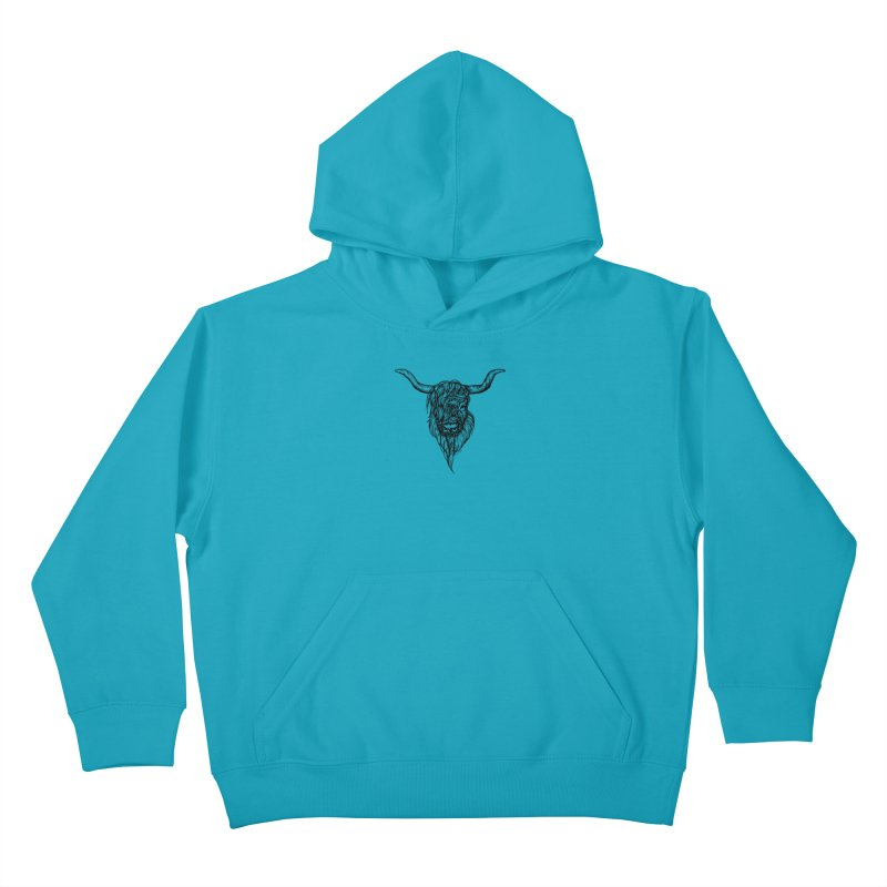 The Highland Cow Kids Pullover Hoody by Black Banjo Arts