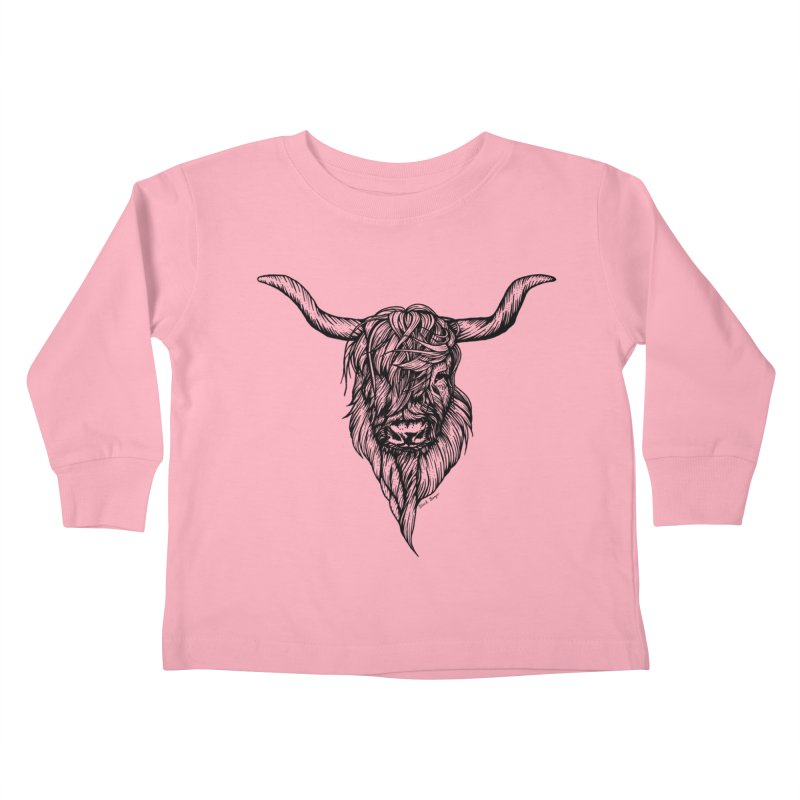 The Highland Cow Kids Toddler Longsleeve T-Shirt by Black Banjo Arts