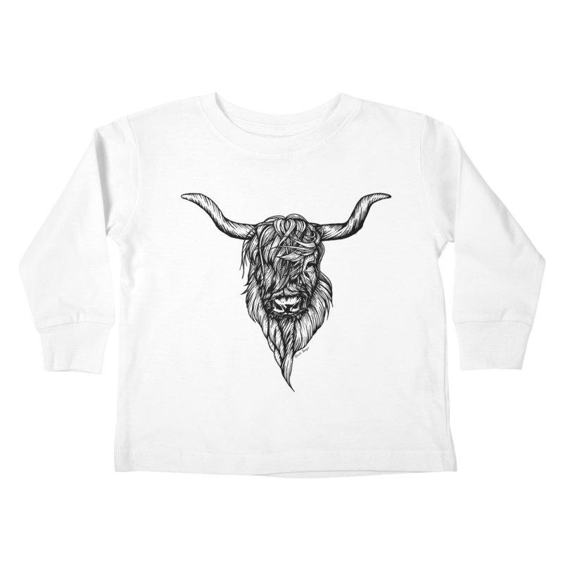 The Highland Cow Kids Toddler Longsleeve T-Shirt by Black Banjo Arts