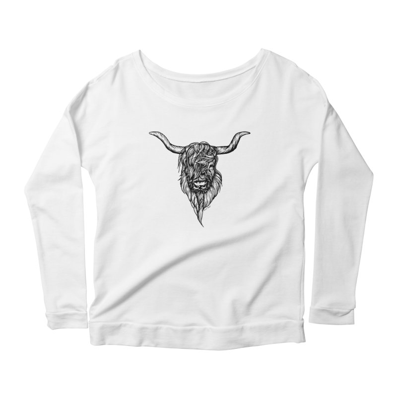 The Highland Cow Women's Scoop Neck Longsleeve T-Shirt by Black Banjo Arts