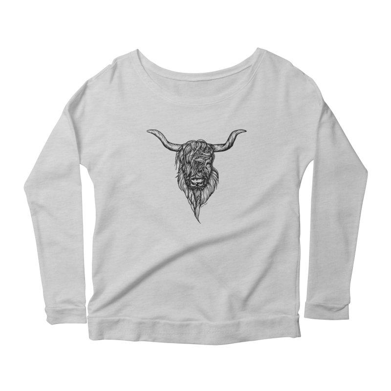 The Highland Cow Women's Scoop Neck Longsleeve T-Shirt by Black Banjo Arts