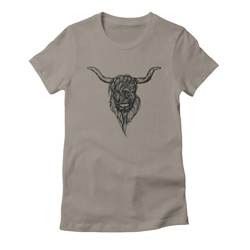 The Highland Cow Women's Fitted T-Shirt by Black Banjo Arts