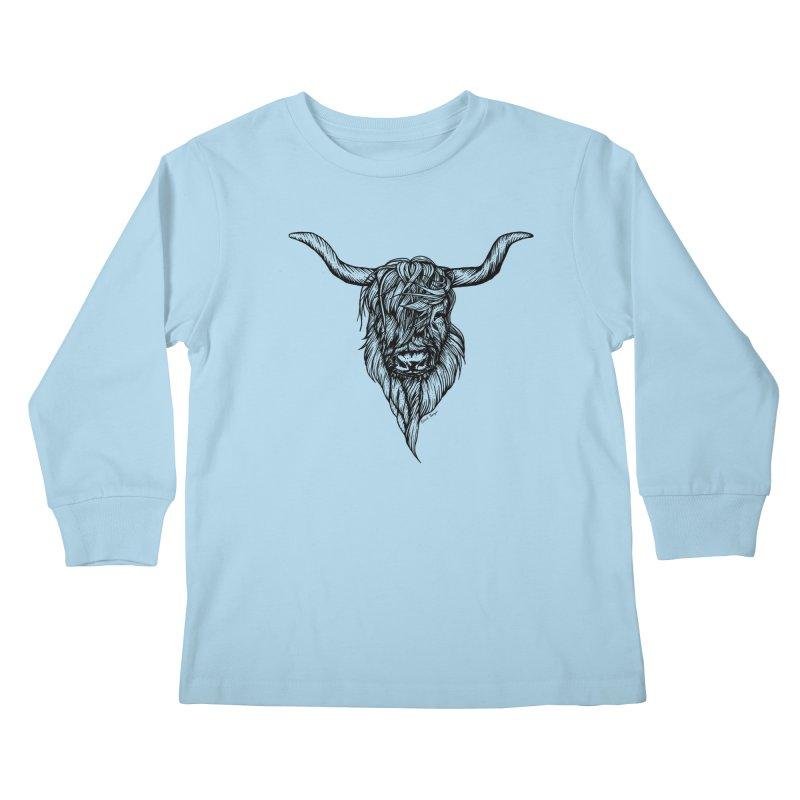 The Highland Cow Kids Longsleeve T-Shirt by Black Banjo Arts