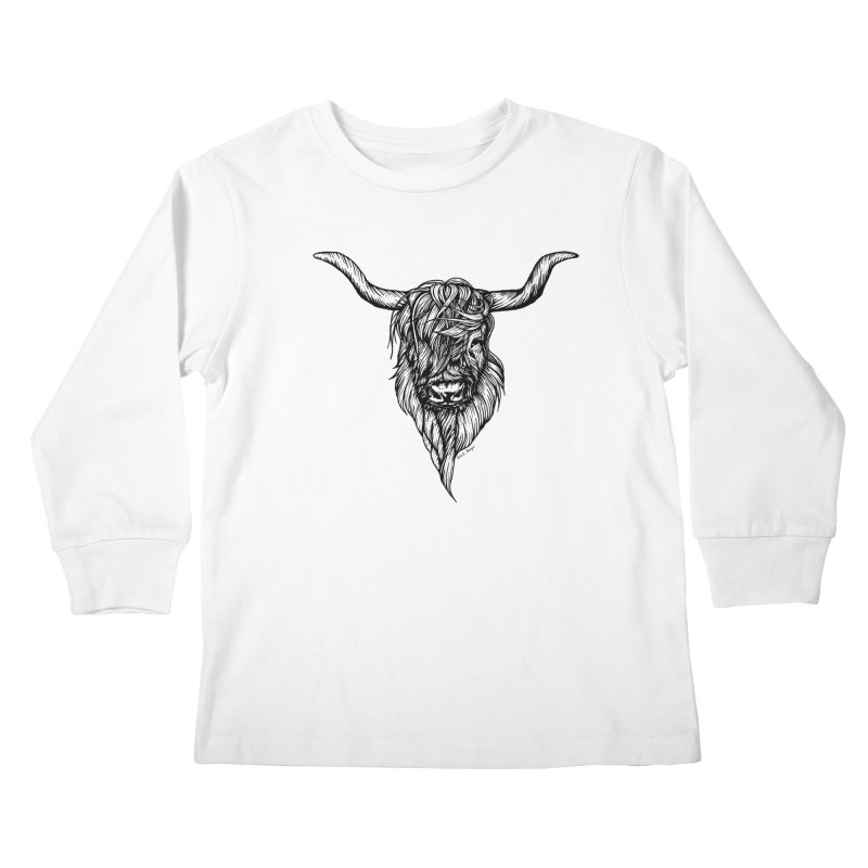 The Highland Cow Kids Longsleeve T-Shirt by Black Banjo Arts