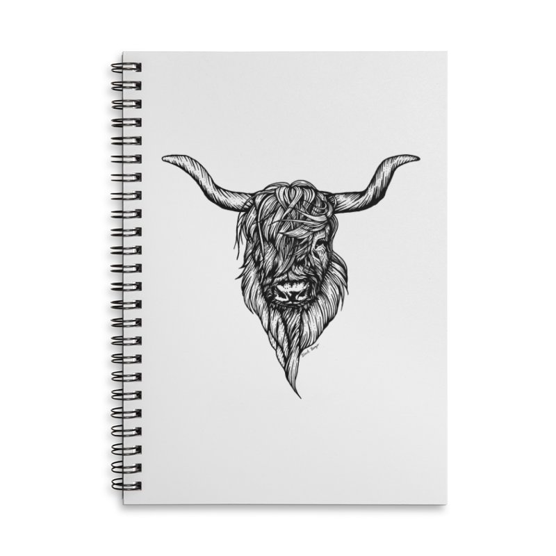 The Highland Cow Accessories Lined Spiral Notebook by Black Banjo Arts