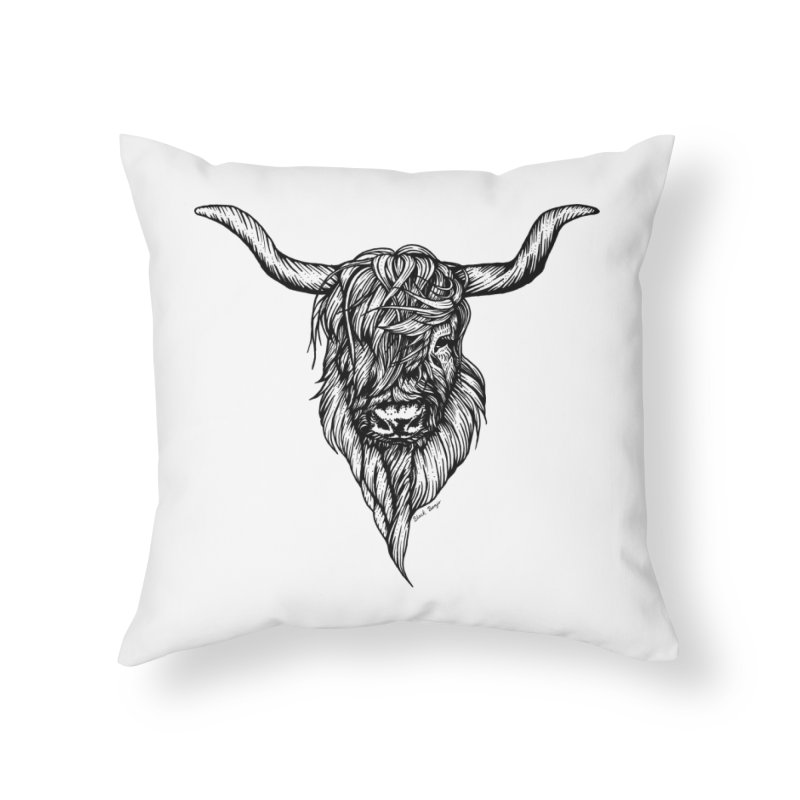The Highland Cow Home Throw Pillow by Black Banjo Arts