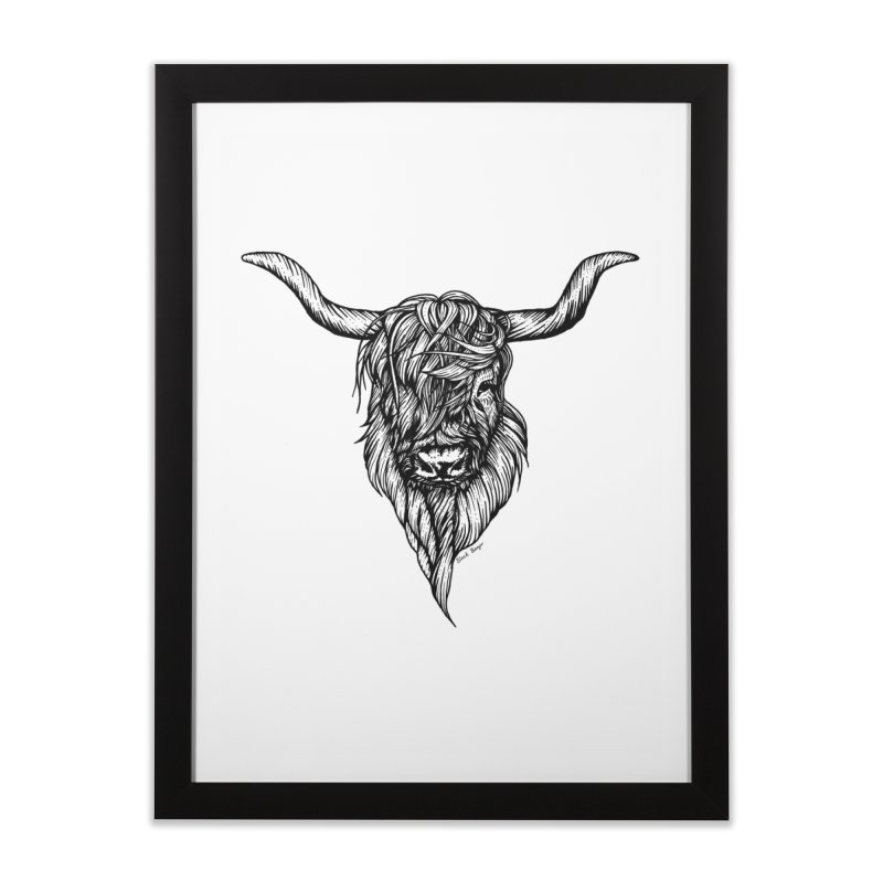 The Highland Cow Home Framed Fine Art Print by Black Banjo Arts