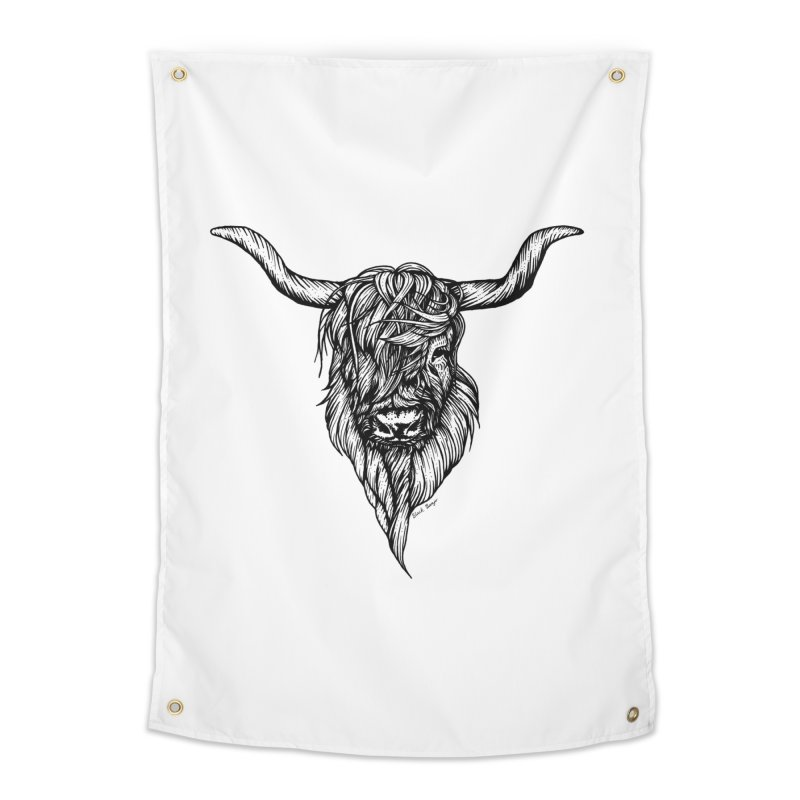 The Highland Cow Home Tapestry by Black Banjo Arts