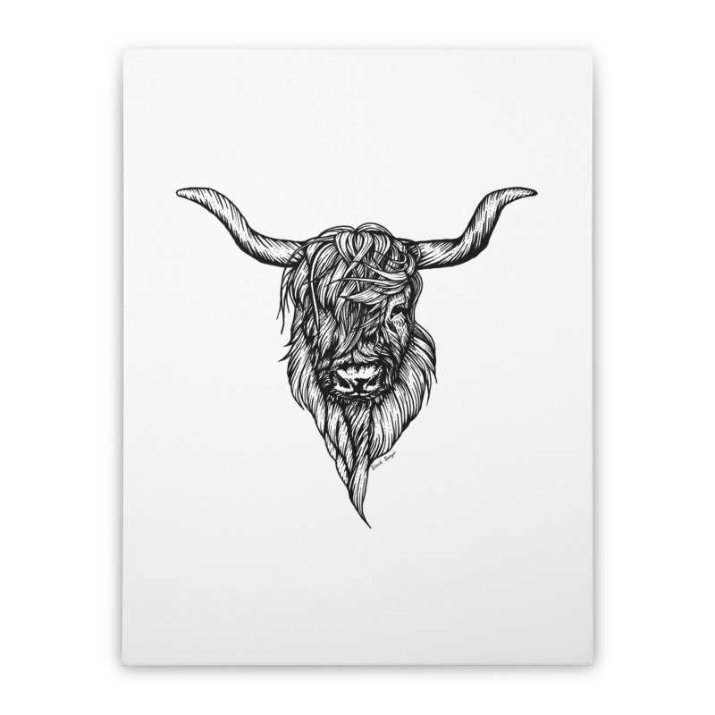 The Highland Cow Home Stretched Canvas by Black Banjo Arts