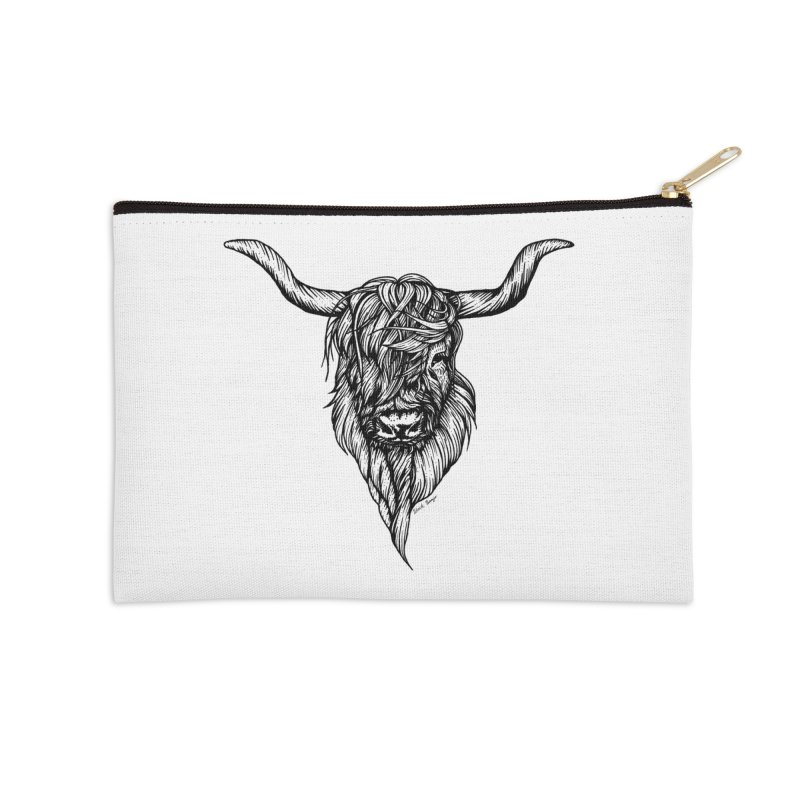 The Highland Cow Accessories Zip Pouch by Black Banjo Arts