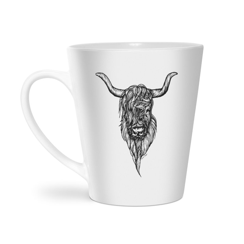 The Highland Cow Accessories Latte Mug by Black Banjo Arts