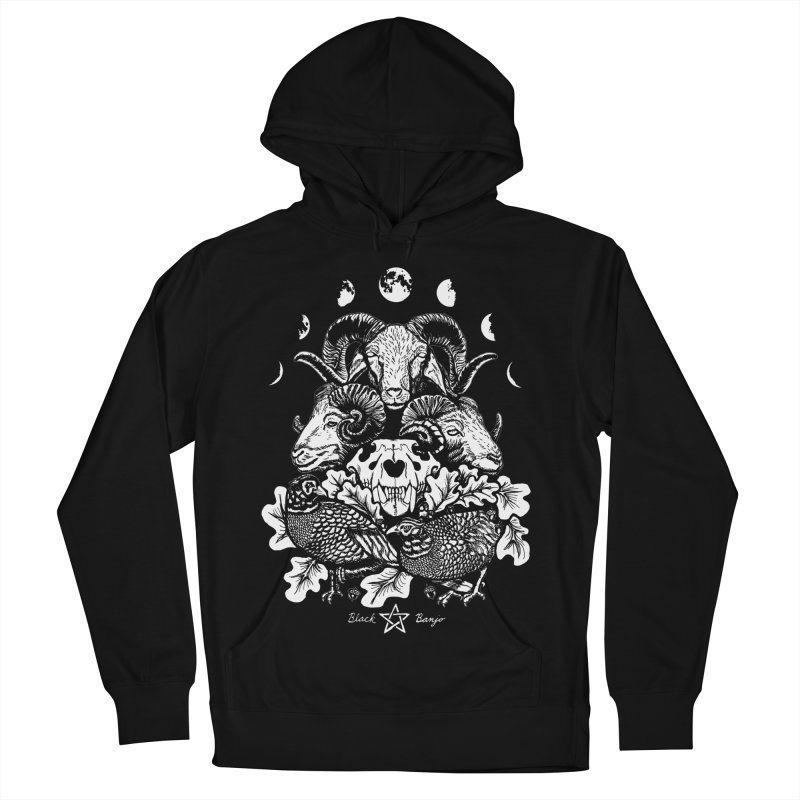 The Ram and The Oak Men's French Terry Pullover Hoody by Black Banjo Arts