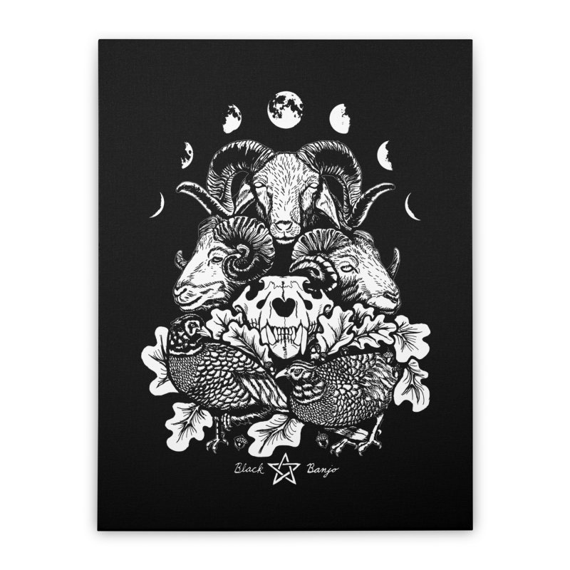 The Ram and The Oak Home Stretched Canvas by Black Banjo Arts