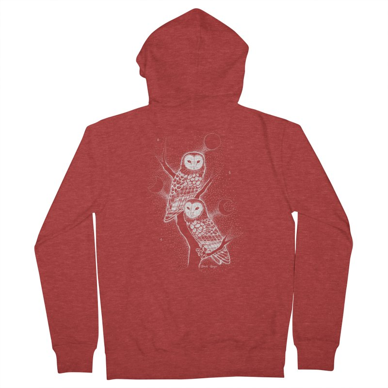 The Witch Owls Men's French Terry Zip-Up Hoody by Black Banjo Arts