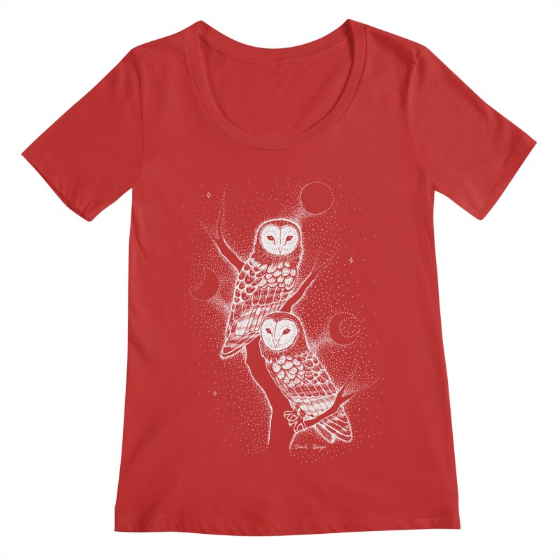 The Witch Owls Women's Regular Scoop Neck by Black Banjo Arts