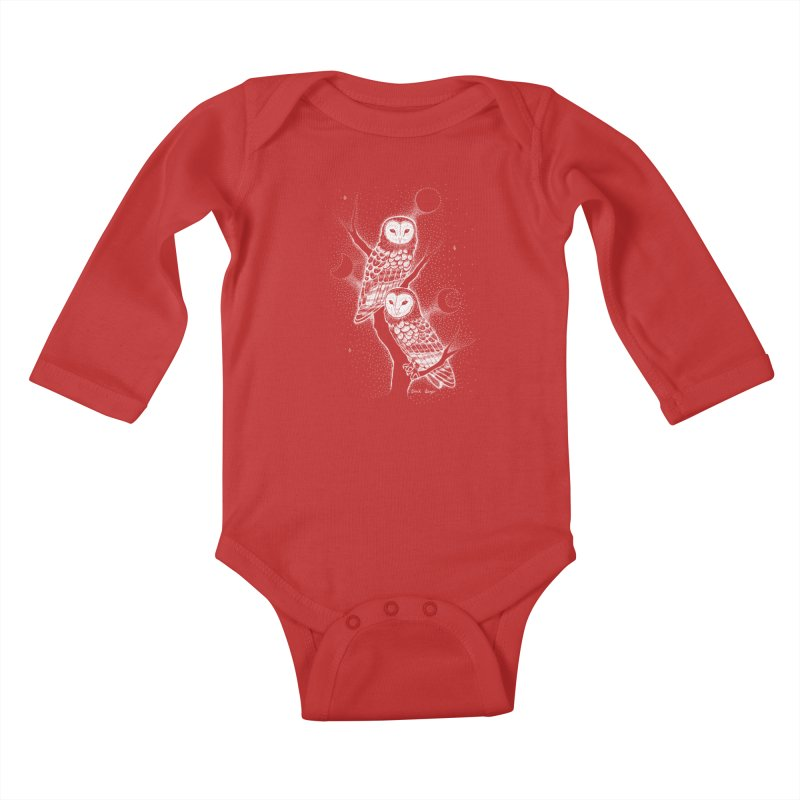 The Witch Owls Kids Baby Longsleeve Bodysuit by Black Banjo Arts