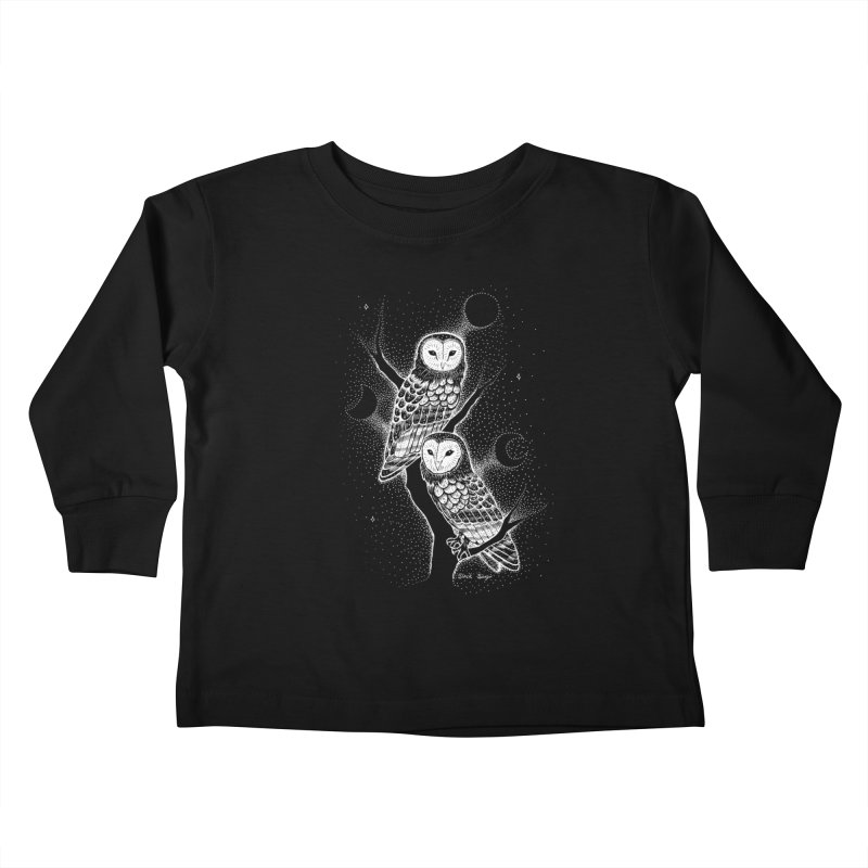 The Witch Owls Kids Toddler Longsleeve T-Shirt by Black Banjo Arts