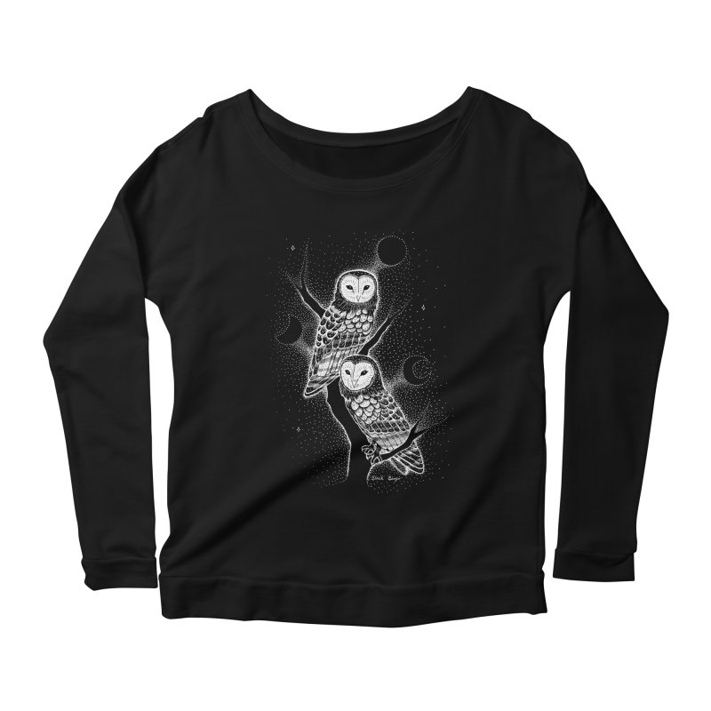 The Witch Owls Women's Scoop Neck Longsleeve T-Shirt by Black Banjo Arts