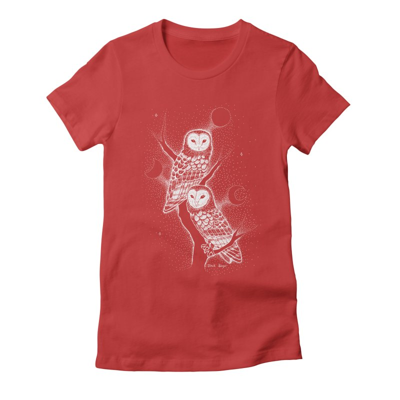 The Witch Owls Women's Fitted T-Shirt by Black Banjo Arts