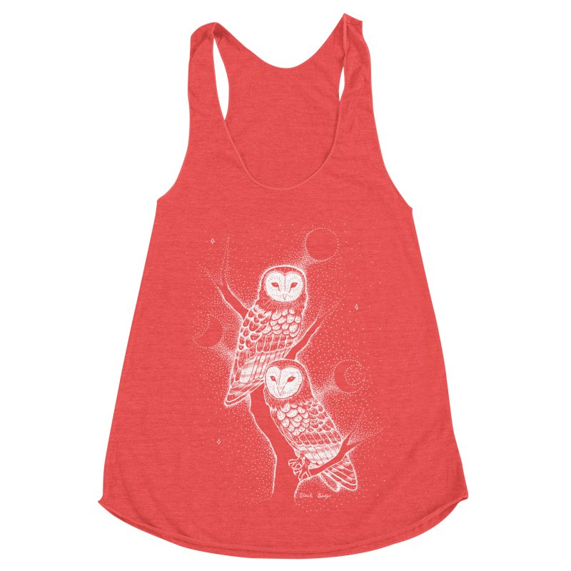 The Witch Owls Women's Racerback Triblend Tank by Black Banjo Arts