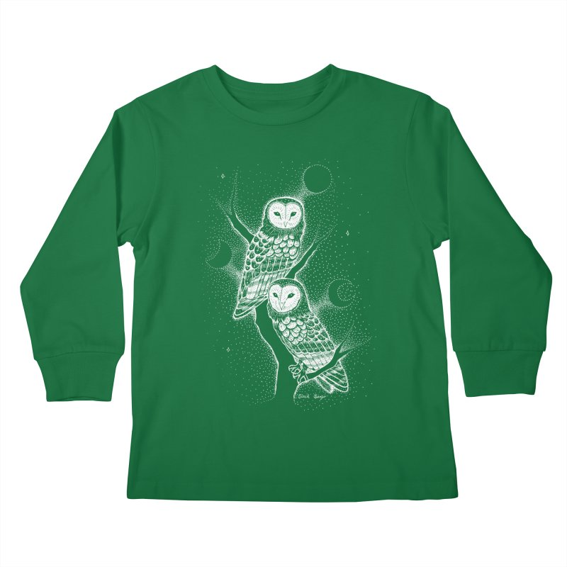 The Witch Owls Kids Longsleeve T-Shirt by Black Banjo Arts