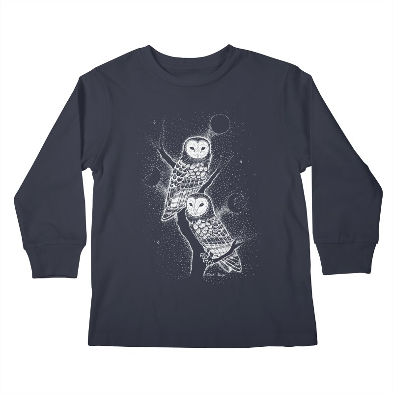 The Witch Owls Kids Longsleeve T-Shirt by Black Banjo Arts