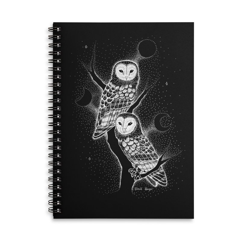 The Witch Owls Accessories Lined Spiral Notebook by Black Banjo Arts