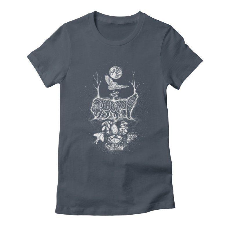 The Moon XVIII Women's Fitted T-Shirt by Black Banjo Arts