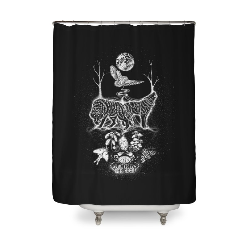 The Moon XVIII Home Shower Curtain by Black Banjo Arts