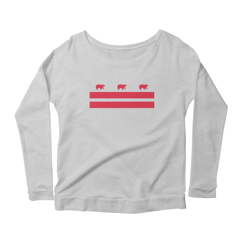 DC Bear Flag Women's Scoop Neck Longsleeve T-Shirt by Black Bear Apparel