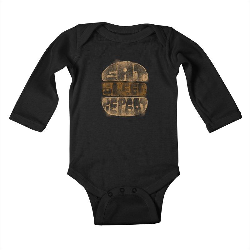Eat Sleep Repeat  Kids Baby Longsleeve Bodysuit by blackboxshop's Artist Shop