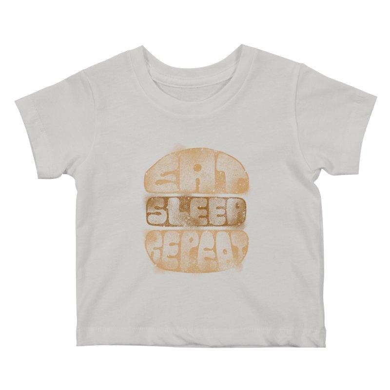 Eat Sleep Repeat  Kids Baby T-Shirt by blackboxshop's Artist Shop