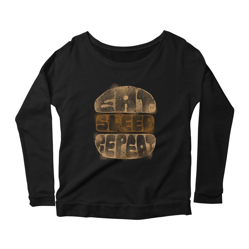 Eat Sleep Repeat  Women's Longsleeve Scoopneck  by blackboxshop's Artist Shop