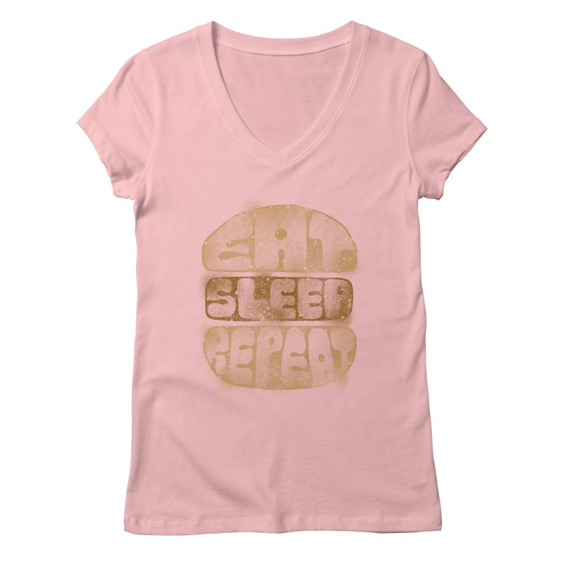 Eat Sleep Repeat  Women's V-Neck by blackboxshop's Artist Shop