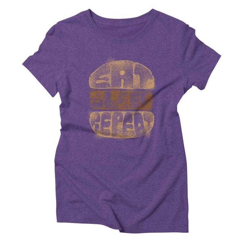 Eat Sleep Repeat  Women's Triblend T-Shirt by blackboxshop's Artist Shop