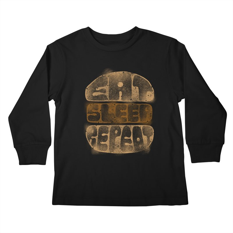 Eat Sleep Repeat  Kids Longsleeve T-Shirt by blackboxshop's Artist Shop