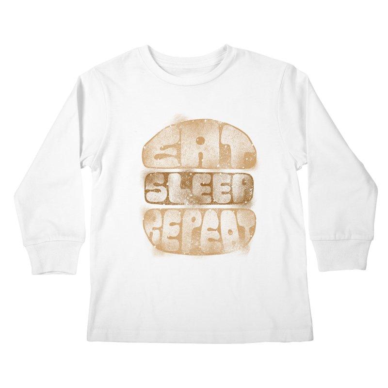 Eat Sleep Repeat  Kids Longsleeve T-Shirt by blackboxshop's Artist Shop