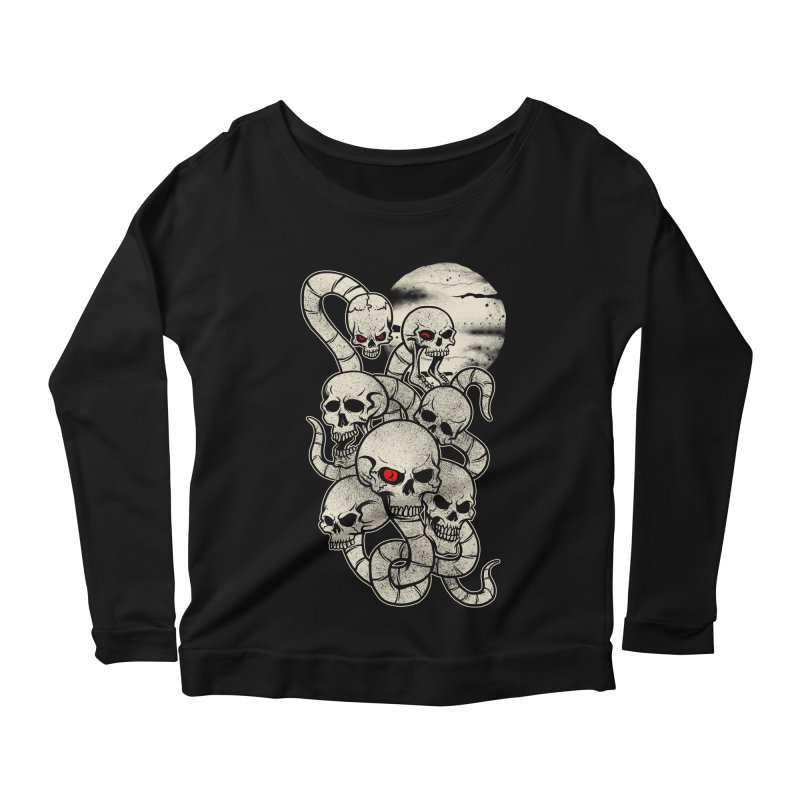River monsters skeleton heads Women's Longsleeve Scoopneck  by blackboxshop's Artist Shop