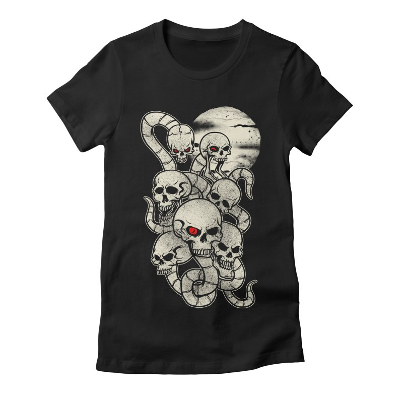 River monsters skeleton heads Women's Fitted T-Shirt by blackboxshop's Artist Shop