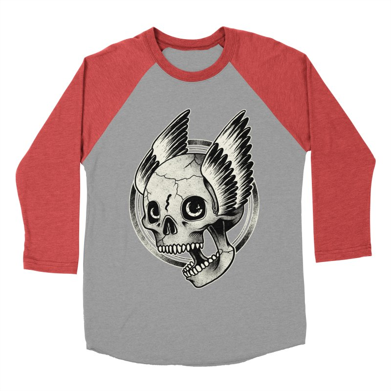 Skull Wings Men's Baseball Triblend T-Shirt by blackboxshop's Artist Shop