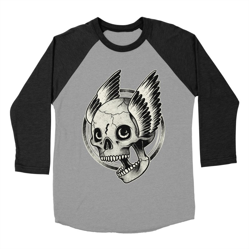 Skull Wings Men's Baseball Triblend T-Shirt by blackboxshop's Artist Shop