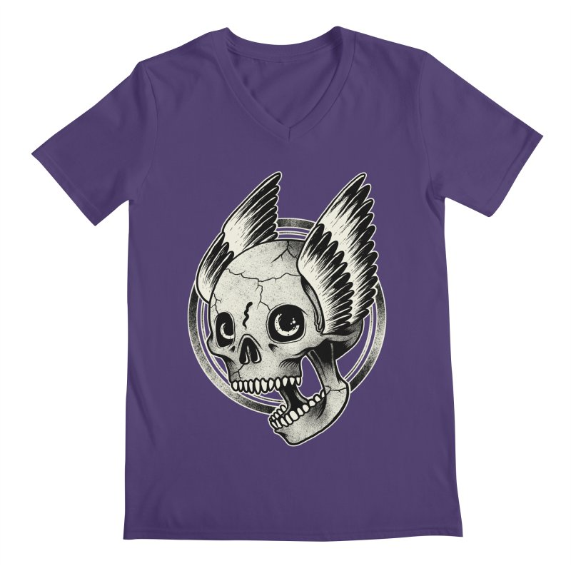 Skull Wings Men's V-Neck by blackboxshop's Artist Shop