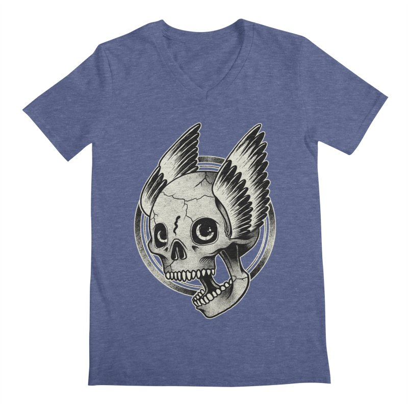 Skull Wings Men's V-Neck by blackboxshop's Artist Shop