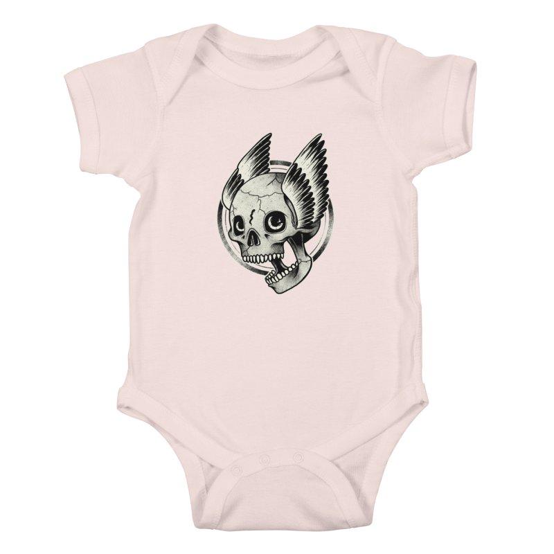Skull Wings Kids Baby Bodysuit by blackboxshop's Artist Shop