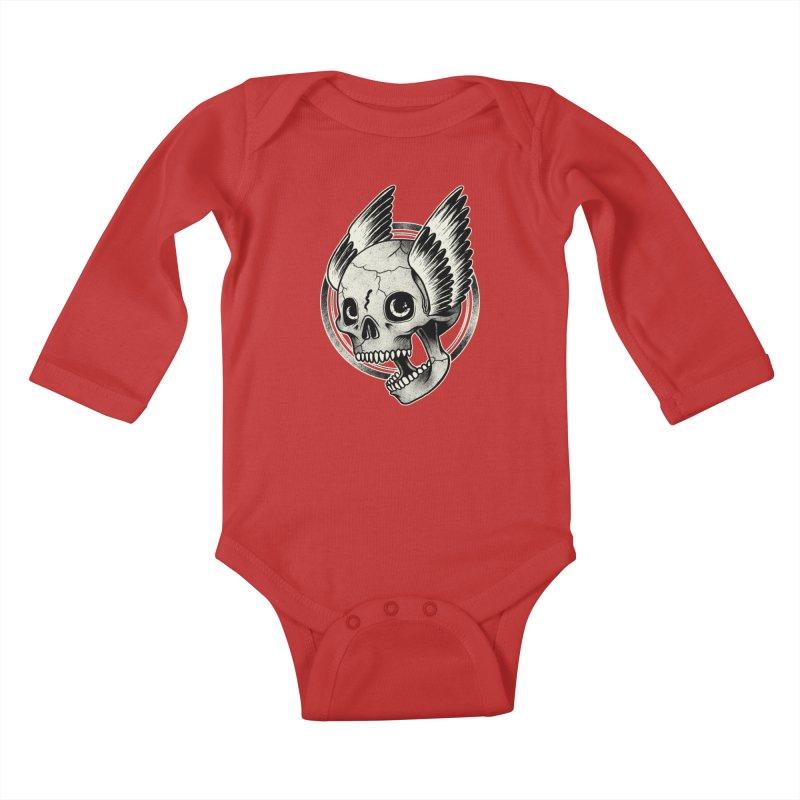 Skull Wings Kids Baby Longsleeve Bodysuit by blackboxshop's Artist Shop