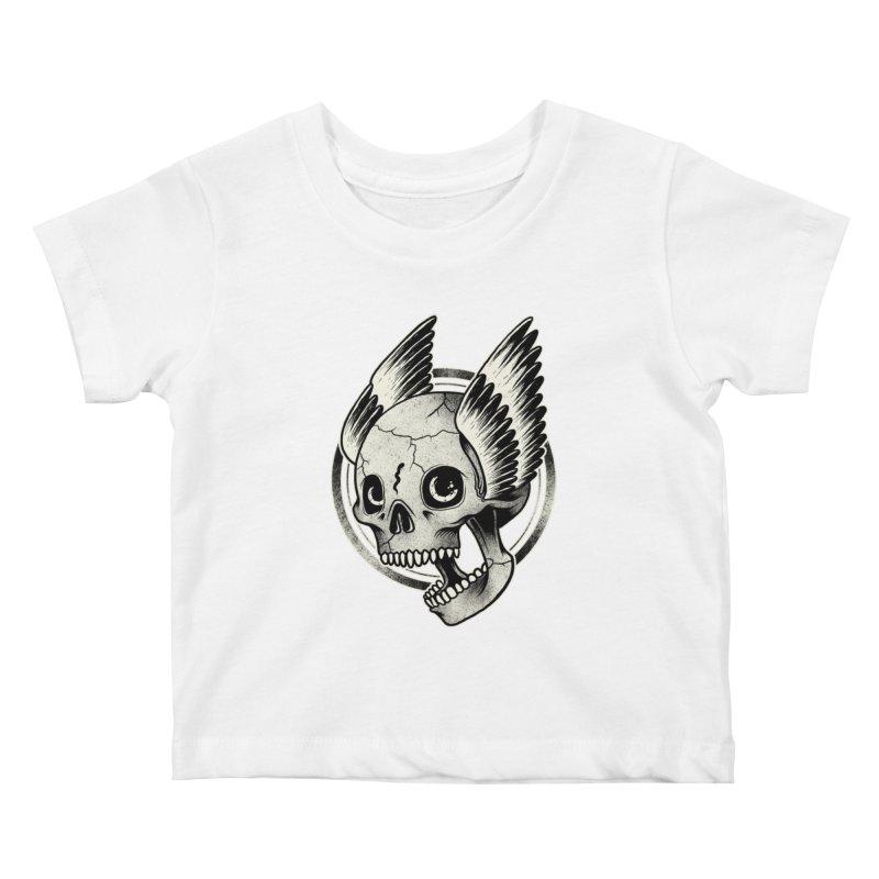 Skull Wings Kids Baby T-Shirt by blackboxshop's Artist Shop