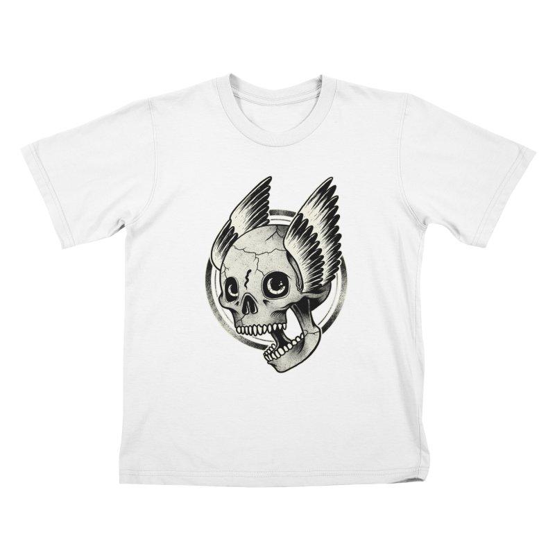 Skull Wings Kids T-Shirt by blackboxshop's Artist Shop