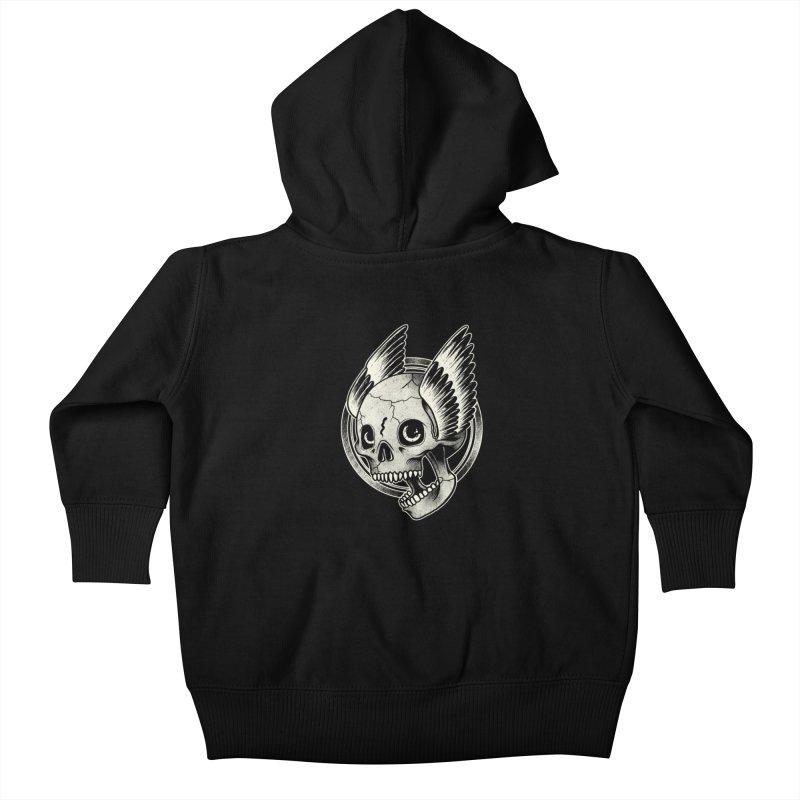 Skull Wings Kids Baby Zip-Up Hoody by blackboxshop's Artist Shop