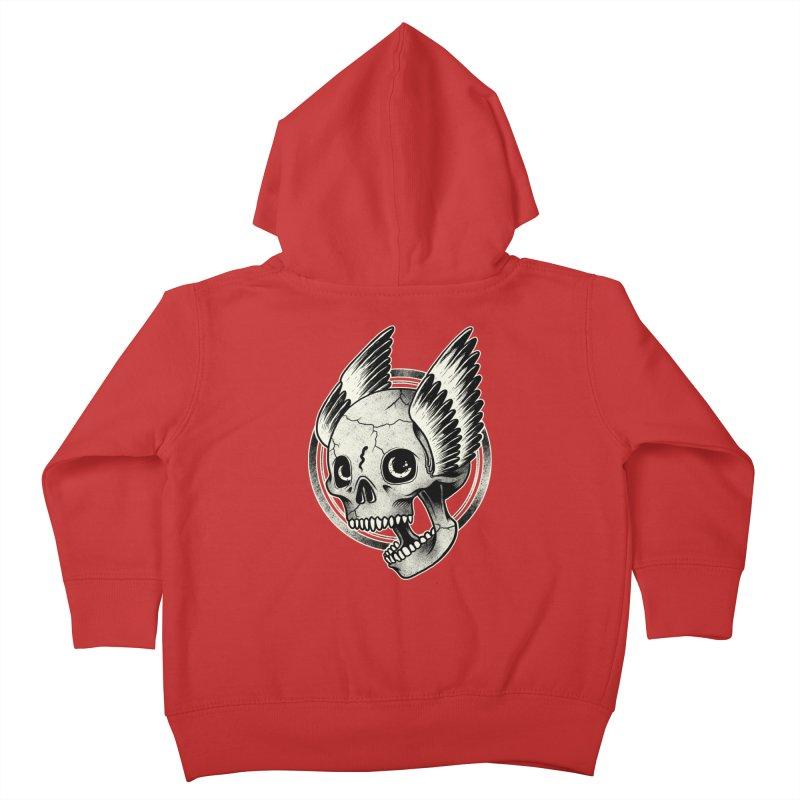 Skull Wings Kids Toddler Zip-Up Hoody by blackboxshop's Artist Shop